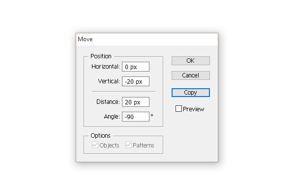 options of the Move dialogue window