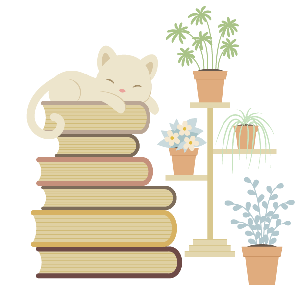 adding the cat and books