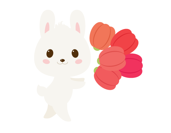 placing tulips close to rabbit