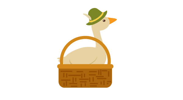 placing the goose in the basket