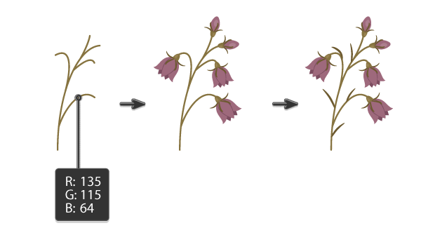 creating the stalk and placing leaves