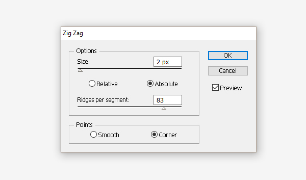 Zig-Zag effect options