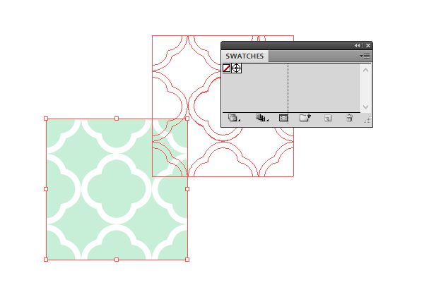 dragging the pattern template to the Swatches panel