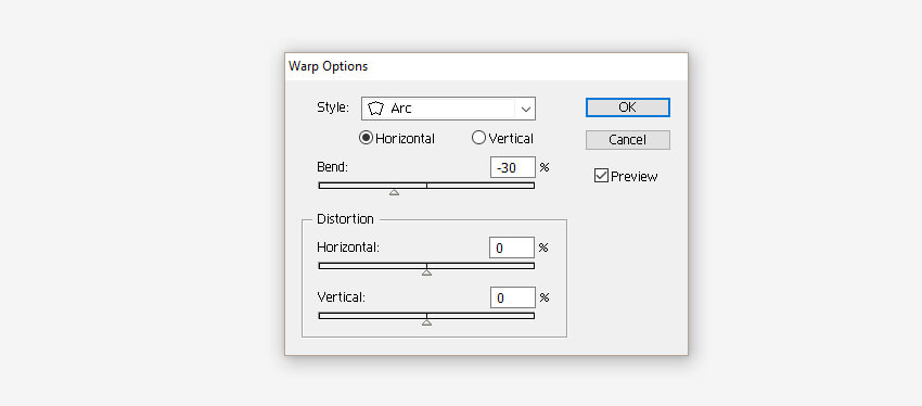 Warp Options window