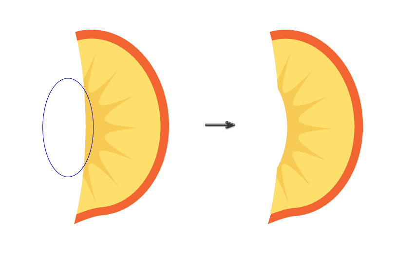 creating the slice of the peach 4