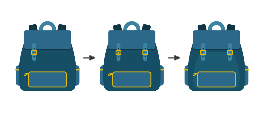placing the backpack clasp and creating another one