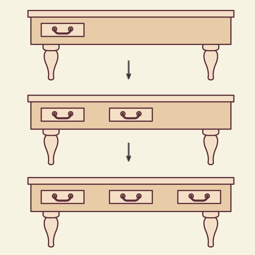 placing the drawer and creating another two