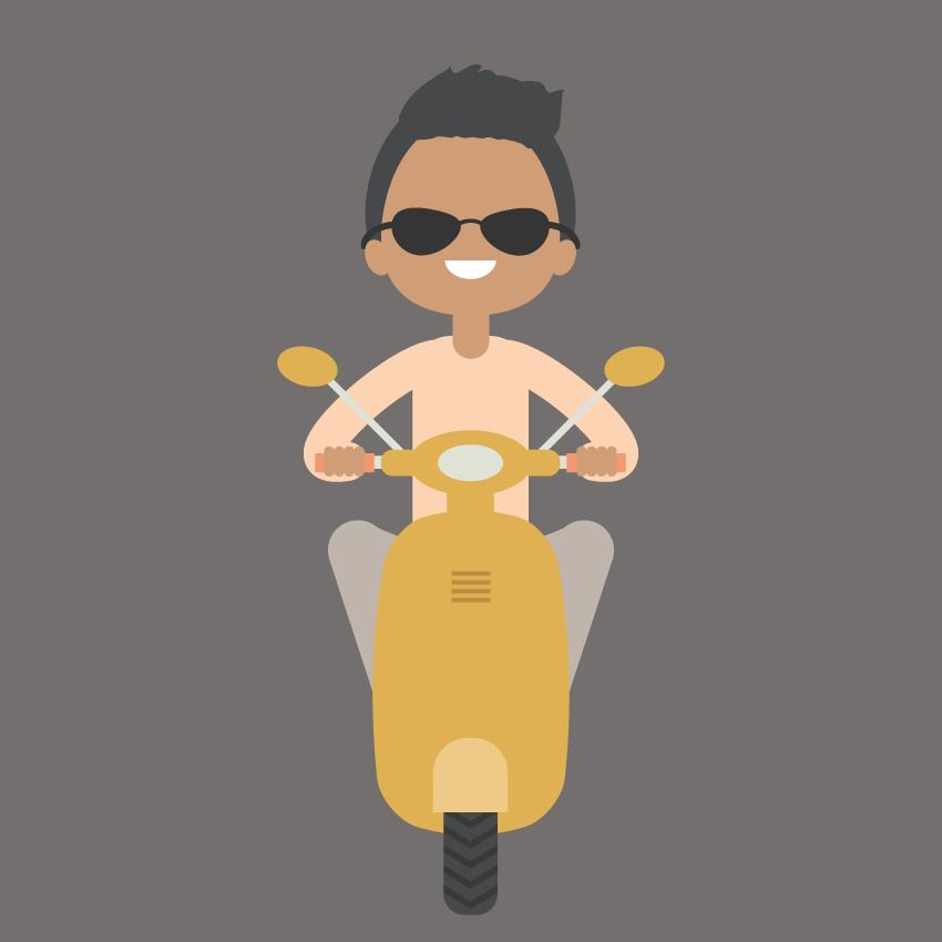 Character Making In Illustrator : How to create an illustration of a boy on scooter in