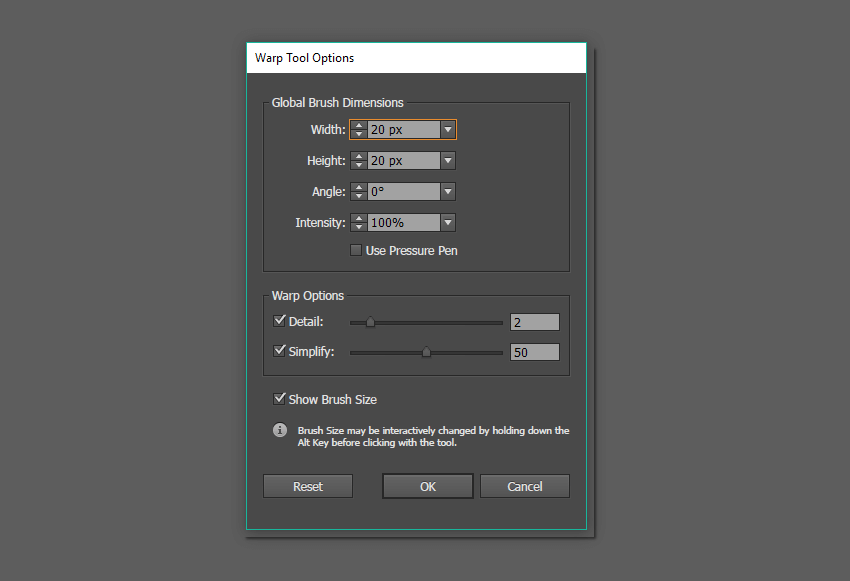 warp tool options