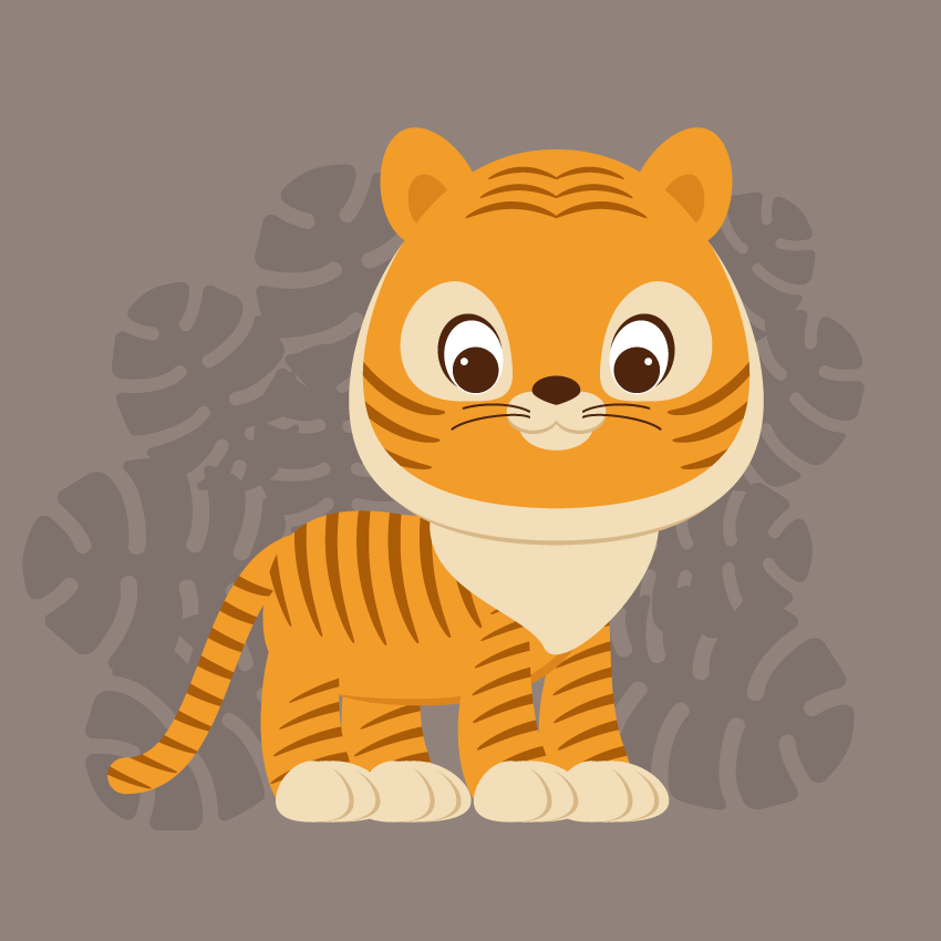 Cute Cartoon Tiger Illustration Adobe Illustrator Tutorial