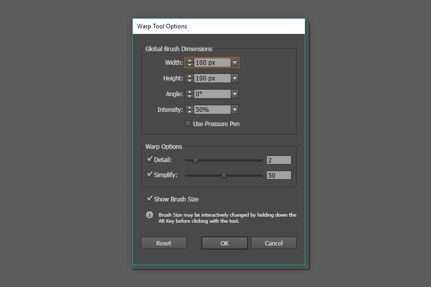 Warp Tool Options window for roughen the branch