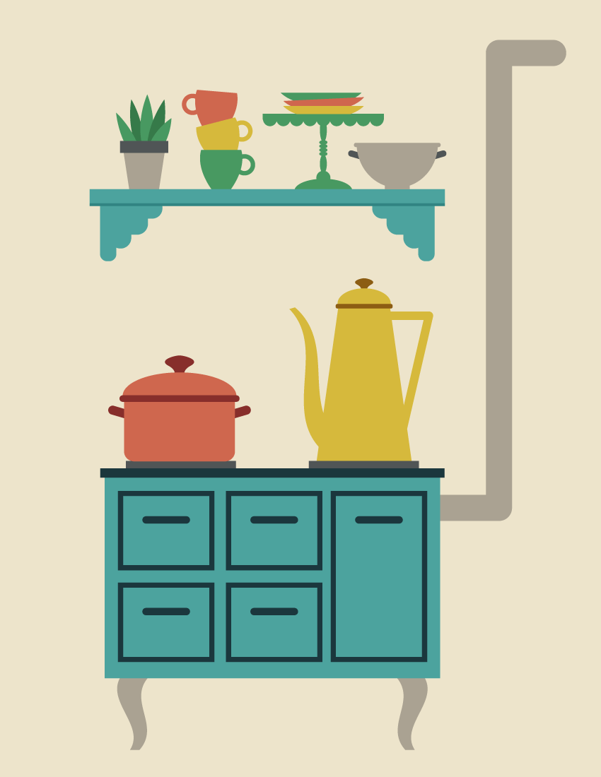 How to Create an Illustration of a Retro Kitchen in Adobe Illustrator