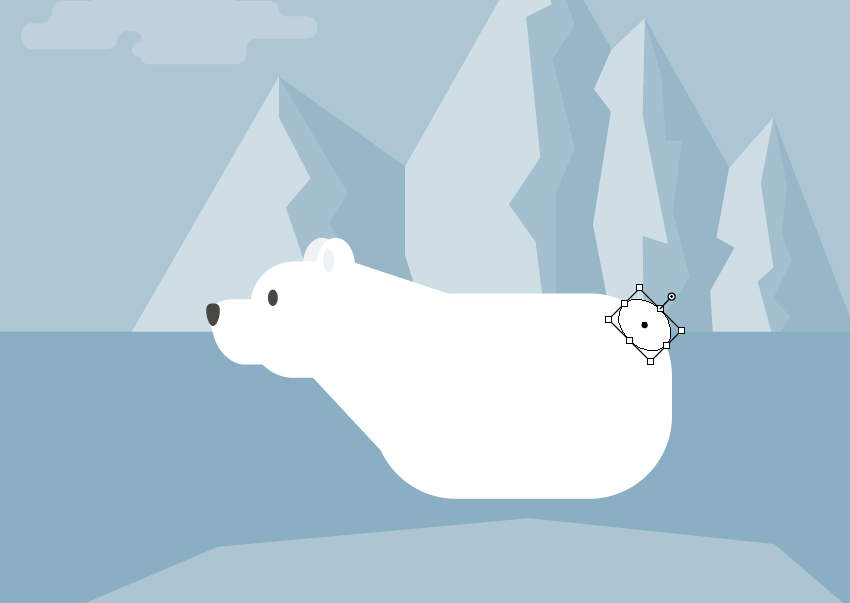 creating the tail of the polar bear