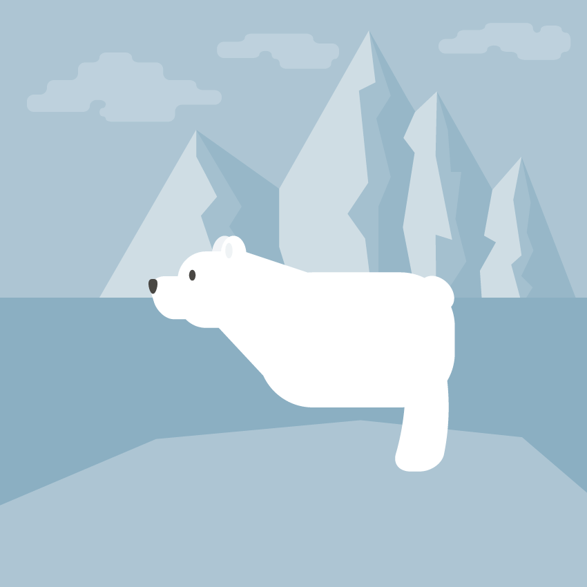 placing the leg of the polar bear