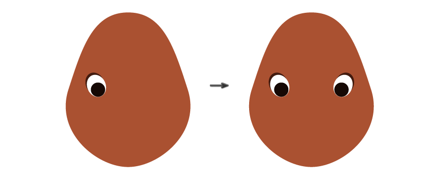 placing the left eye and creating the right one