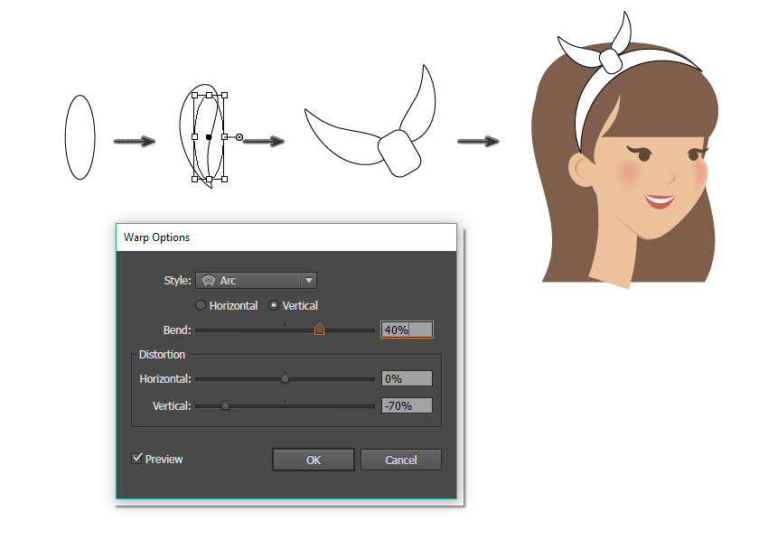 how to create the bow on the headband