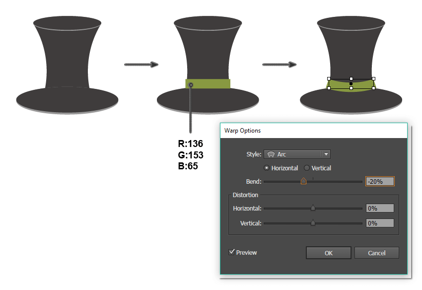 continue creating the top hat