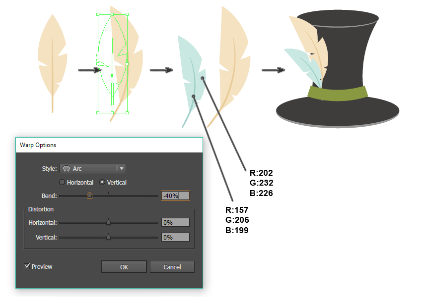 how to create the another feather and place it on the hat