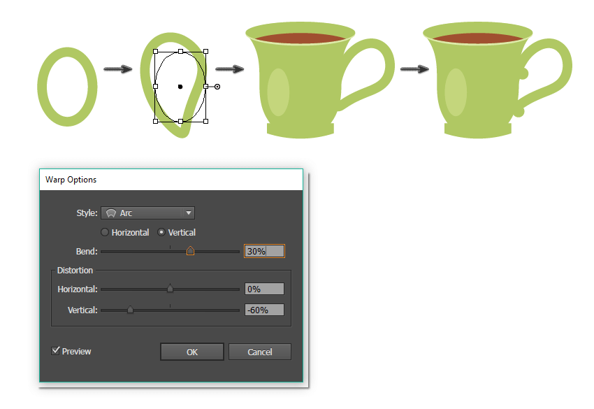 how to create the handle of the tea cup