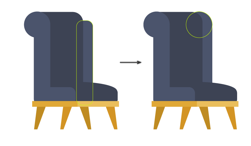 continue creating the  cushions of the chair