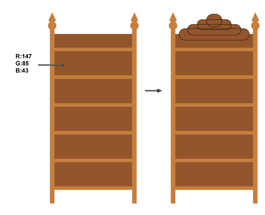 how to create the back of the bookshelf