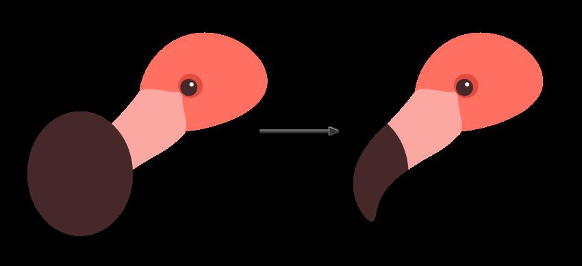 continue creating the flamingos beak