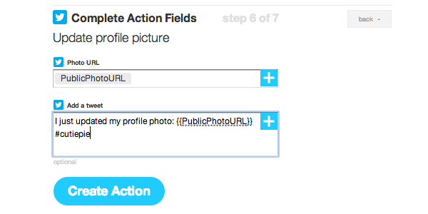 edit action fields