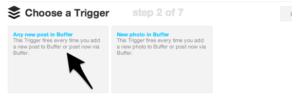 IFTTT will run the recipe when you post with Buffer