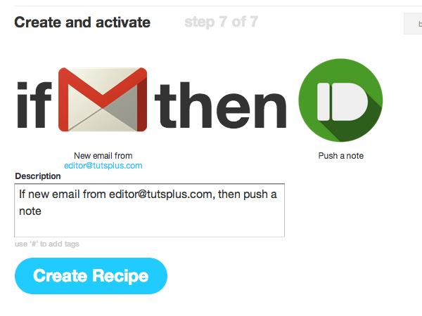 The new recipe will activate when a matching email hits your inbox