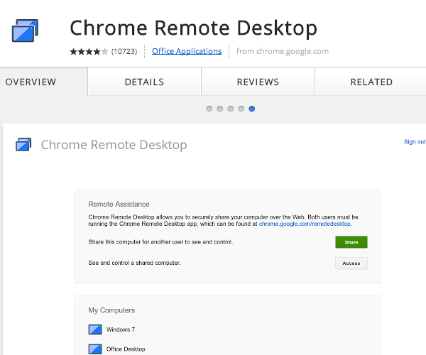 Add Chrome Remote Desktop to Chrome