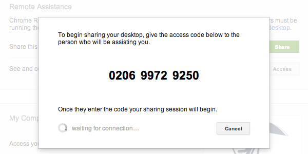 Generate a new access code each time you want to share your computer