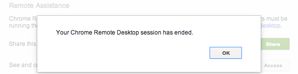 Chrome will notify you when the session ends