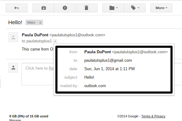 Emails sent with Gmail will appear as though they came from another account