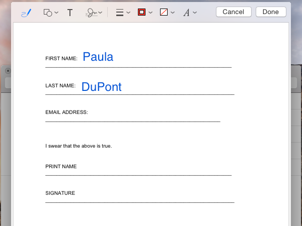 Add text to a PDF in Mail