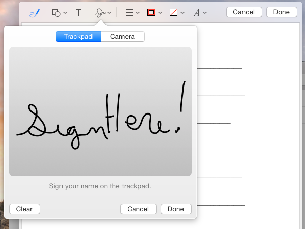 Sign your name on the trackpad using your finger