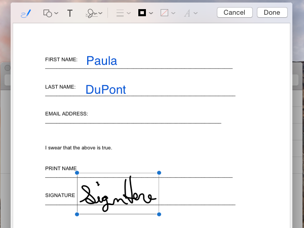 Select a signature and place it in the PDF