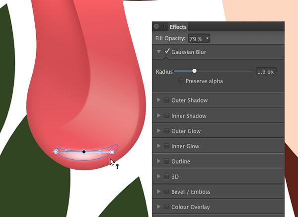 create a new shape apply a 19 pixel gaussian blur and a transparency gradient
