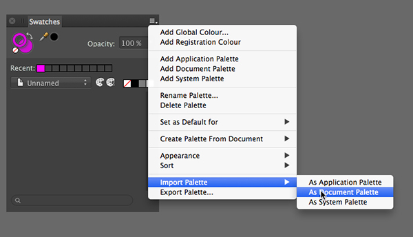 revealing the location path to import the downloaded colour palette