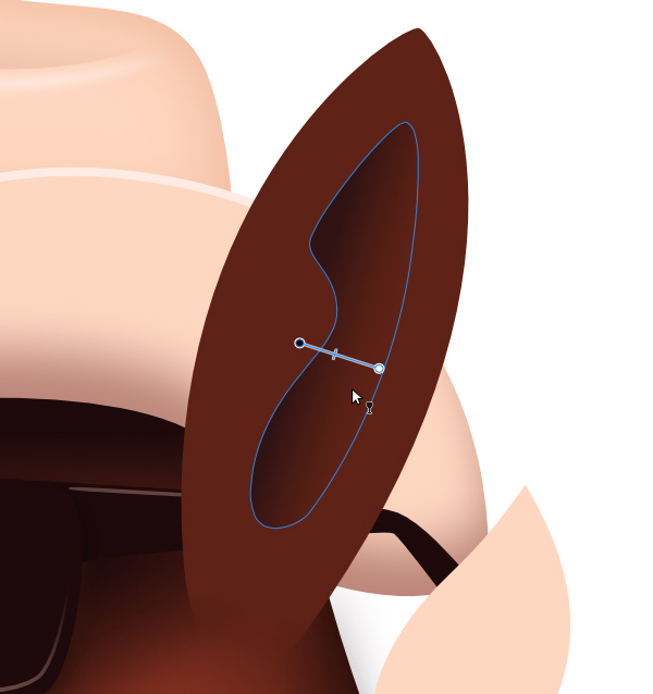 select the inner dark shape of the ear and apply a transparency gradient from left to right