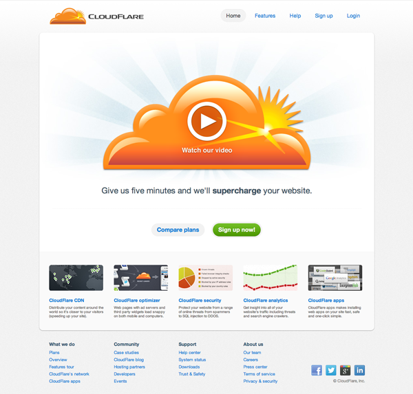 The CloudFlare Homepage