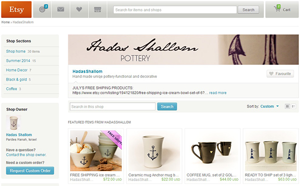 An Etsy Shop With Many Products