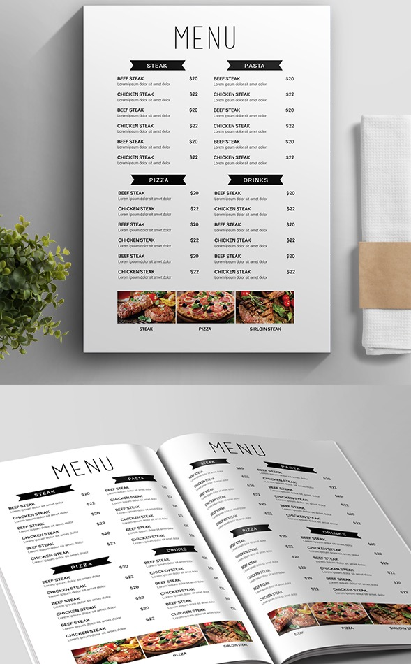 Minimalist Menu Template