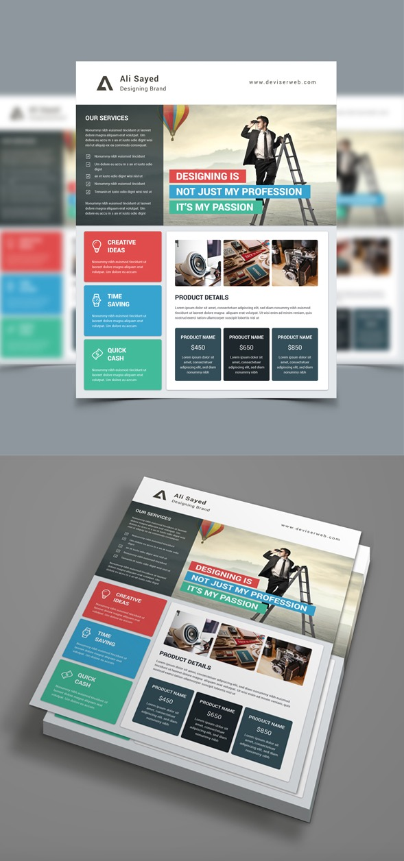 Material Style Business Flyer Template