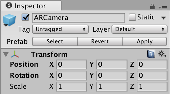 ARCamera Transform Options