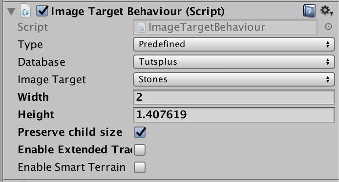 Image Target settings