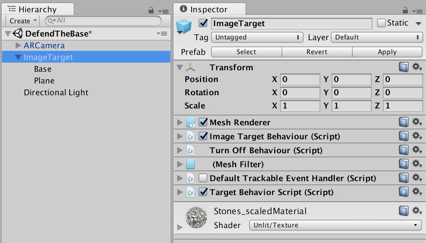 Hierarchy and Image Target final settings