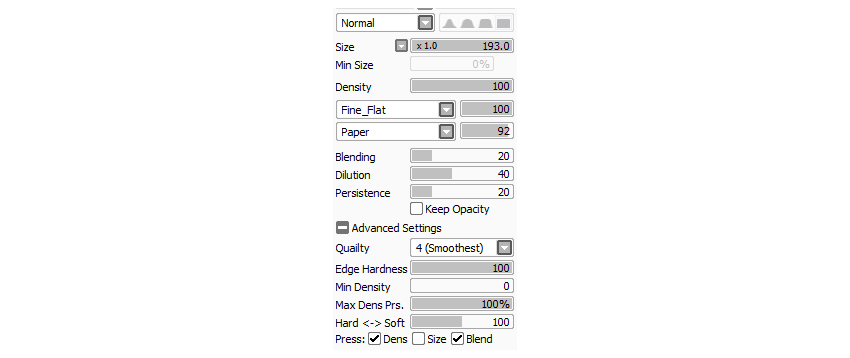 Use these settings for your Custom Painting Brush