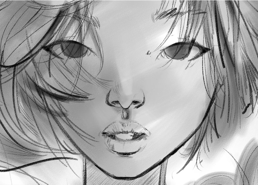 Eyes roughed in