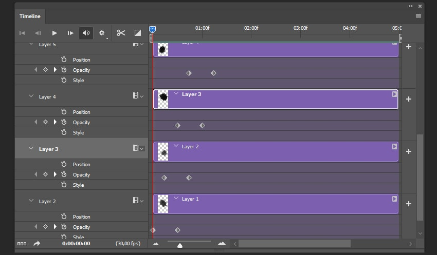 Creating keyframes for other layers