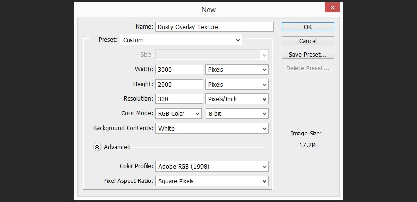Creating a document  How to Create a Dusty Texture FromScratch 2 Step 1 min